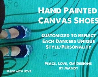Custom Paint Canvas Childrens Dance Shoes (Ballet, Jazz, Contemporary, All Dance)