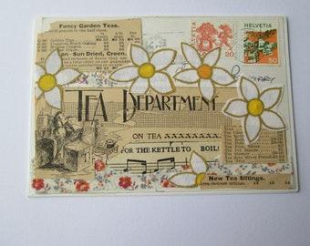 Time For Tea - Mixed Media Greetings Card - Original Artwork