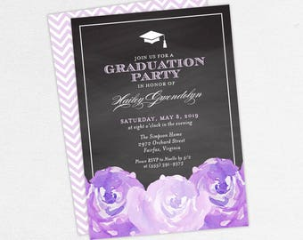 Graduation Invitation, Graduation Announcement, Printable Invitation, Invitation PDF, DIY, Printed, Watercolor Flower, Chalk, Purple, Hailey