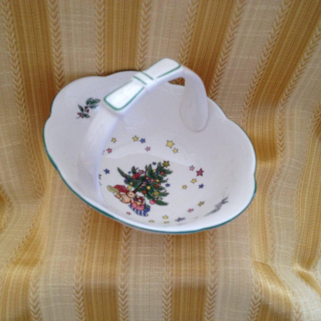 Nikko Christmas Tree Porcelain Basket Happy Holidays handled