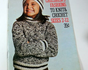Vintage Children's Fashions To Knit And Crochet Sizes 2-12, Retro 1970's Designs