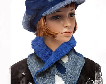 Blue winter newsboy cap - size XL