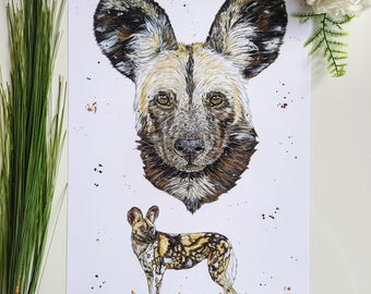 African wild Dog, wild Dog, African animals, dog decor, Wild one, African decor, wildlife art, Dog painting, dog print, African theme, dogs