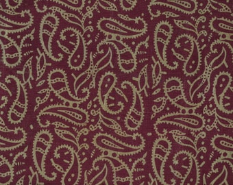 Sheer cotton silk blended chanderi in maroon background with Paisley design - One Yard