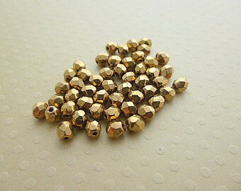 Set of 50 4 mm faceted Bronze - F4 1194