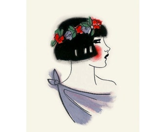 "Art Deco art print -  Spring time Flapper - 4"" X 6"" - 4 for 3 SALE"