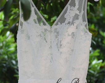 Lace wedding dress, bohemian wedding dress, Lace bridal gown, Sheath wedding dress with V-neckline