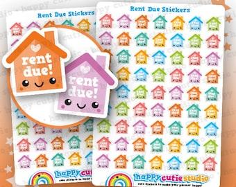 63 Cute Rent Due Planner Stickers, Filofax, Erin Condren, Happy Planner, Kawaii, Cute Sticker, UK
