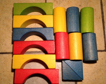 14 Large Colorful Wooden Blocks