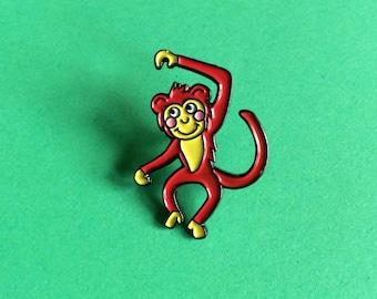 Enamel Pin Badge, Monkey Pin, Cute Animal Lapel Pin, Monkey Enamel Pin, Cheeky Monkey Pin Badge, Monkey Brooch, Fun Pin, Jungle Lapel Pin