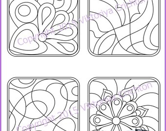 Strings for drawing zentangles. Tangle pattern printable string, PDF. String art template.