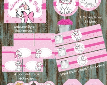 Marie Party Package, Marie Aristocats Printable Party Package, Disney Marie Party Package, Marie Aristocats Birthday Party, Kitty Party