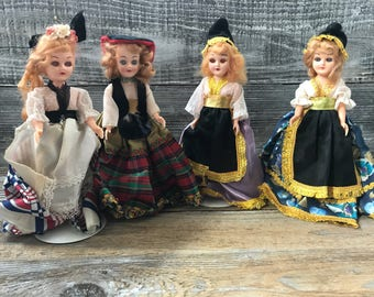 4 1960's Dolls of the World with Stands Collectible Dolls Arco? Promotional Costumes Sleepy Eyes