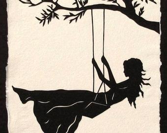 GIRL ON A SWING Papercut - Hand-Cut Silhouette