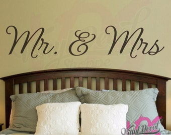 Mr and Mrs Wall Decal, Wedding Gift, Housewarming Gift, Wall Decal, Mr and Mrs, Mr. and Mrs., Newlyweds, Large Wall Decal, Wall Decals, bed