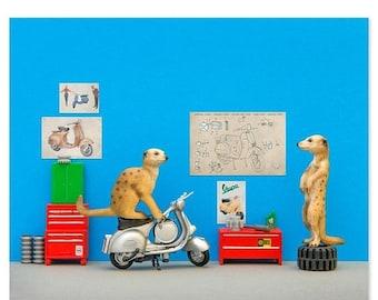 30% OFF SALE Vespa scooter animal art print: Toodle Pip