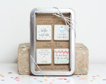 Cupcake Collection. Rustic Refrigerator Magnets1.25 x 1.25 All Occasion Gift. Gift Tin with Ribbon Hand painted Magnets