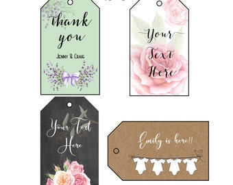 Gift Tags - Custom Tags - Printable Tags - Product Tags - Custom Favor Tags - Custom Product Tags - Wedding Favor Tags, Set of 24