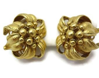 Gold Flower Earrings - Vintage Costume Jewelry, Designer Jose Barrera Vintage Earrings for Women