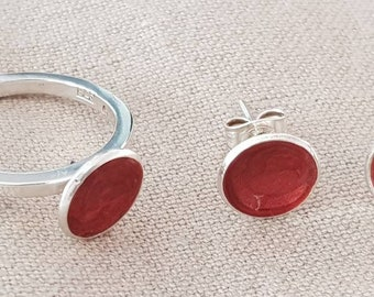 Silver set with red enamel, ring and earrings