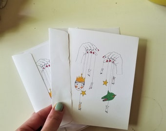 THE STRINGS set of 2 blank cards