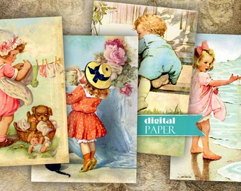 Vintage Illustration 2 - digital collage sheet - set of 8 cards - Printable Download