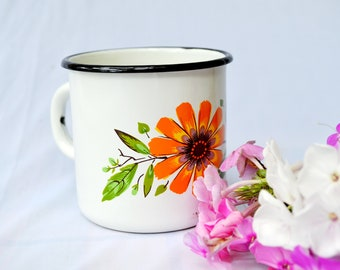 White enamel mug, Retro Kitchen Decor, camping camp tea mug, coffee enamel wear, gifts for her him, white coffee cup