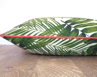 Swaying palm outdoor pillow cover Palm Beach Decor, tropical pillow case summer decoration, palm leaf outdoor cushion, green outdoor pillow