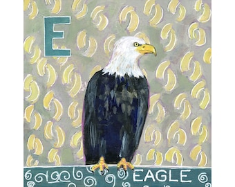 Wall Art, Home Decor, Art on Wood, Eagle Painting, Original Artwork 8X8 | Eagle