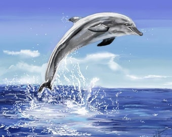 Leaping Dolphin-Print