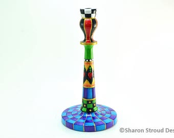 Tall Whimsical Candlestick with Hanging Hearts