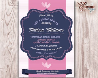 BABY/BRIDAL SHOWER / Fun pink and purple design with pinstripes and hearts: Sent as Digital pdf File