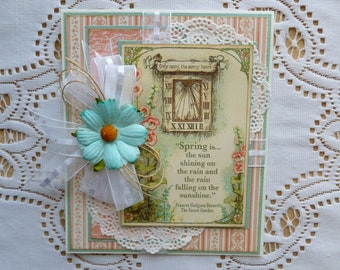 Spring Birthday Greeting Card, Graphic 45 Secret Garden