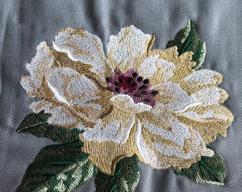 Embroidered cushion: peonies