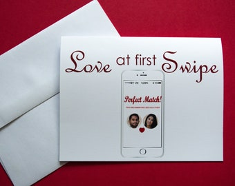 Personalized Online Dating Card - Tinder/Hinge/Bumble Card  - Love At First Swipe - Funny Love/Anniversary/Just Because/Valentine's Day