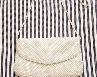 La Regale Vintage White Pearl  Purse / Handbag / Evening Bag / Clutch