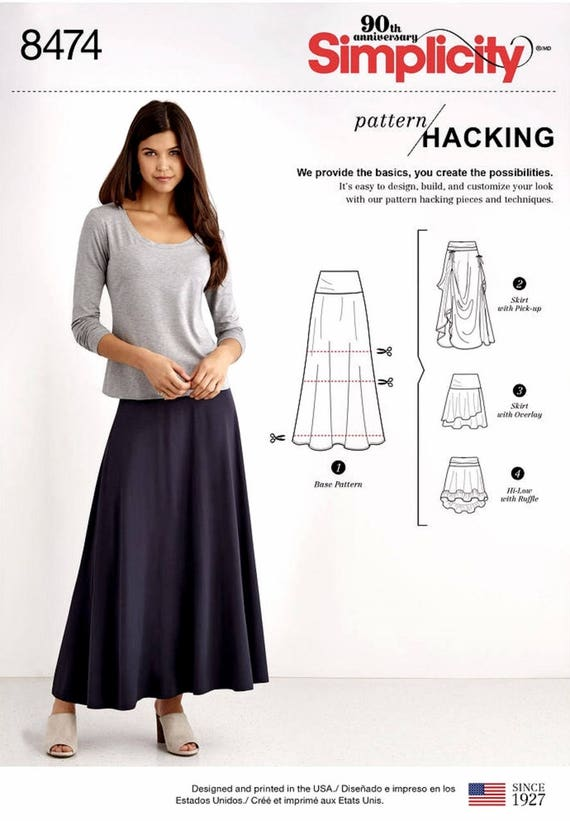 Sewing Pattern Womens Elastic Waist Skirt Pattern Easy