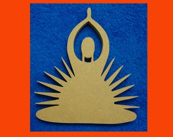 Meditating Woman Cut Out MDF Shape Mosaic Base Unpainted Yoga Shape