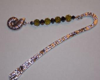 Green and Black Glass Beaded Tibetan Silver Bookmark