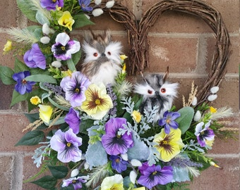 Pansies, Owls, Owl Wreath, No Owls less cost, One Owl, Two Owls, Spring, Pansy Wreath, Purple, Yellow, Heart, can be a Round Wreath