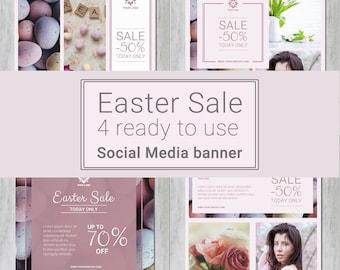 EASTER Social Media Templates for instagram, facebook - mini pack - Sale banner templates, social media template, instagram template