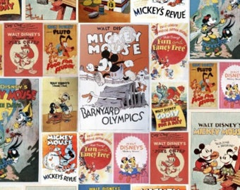 Disney Posters Mickey & Minnie Posters Fabric - Multi - sold by the 1/2 yard
