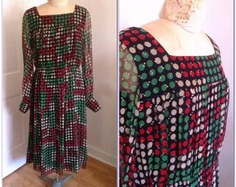 1960s  Sparkly Dotted Vintage Dress, size medium, large 10 12, polka dot dress, sparkly dress, holiday party dress, vintage clothing