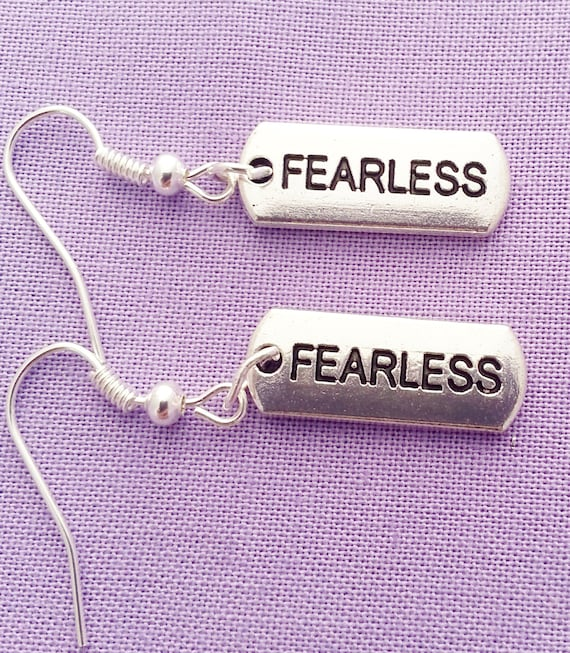 Fearless Charm Earrings, Crossfit Fitness Jewelry, Sports Runner Crossfit Charms, Fearless Motivational Earrings, Inspirational Word Charms