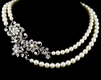 Statement Wedding Necklace Swarovski Crystal Pearl Bridal Necklace Flower Necklace Wedding jewelry SABINE GRAND NECKLET