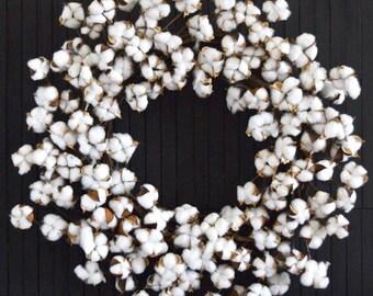 "Farmhouse Cotton Stem Front Door or Fireplace Wreath - XL 26"" Diameter"