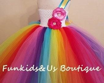 Rainbow Birthday Tutu Dress -Rainbow Tutu Outfit, Rainbow Dress