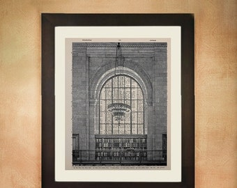 SALE--ships May 29-- New York City Library Reading Room Dictionary Art Print, Nyc Architecture Upcycled  Wall Art da67