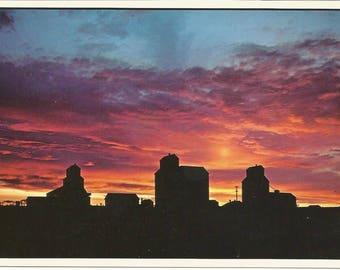 Vintage 1980s Postcard Alberta Scenic Sunset Card Grain Elevator Rurex Prairie Icons Abandoned Canada Photochrome Postally Unused