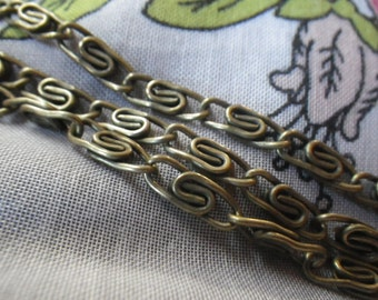 Large Greek Key or Meander Antiqued Brass Chain 5mm Wide 6 Feet